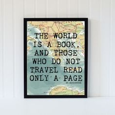 vintage map art print typography atlas quote home decor travel bookpage motivational dictionary. $15.95, via Etsy.