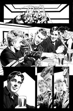 Firestar and Justice page 1 by Mike Mayhew Black And White Comics, Black And White Artwork, Comic Book Pages, Comic Books Art, Storyboard Drawing, Drawing Tips, Comic Layout, Graphic Novel Art, Comic Manga