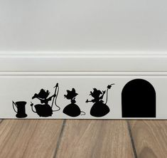 Read the full title Cinderella Mice Decal - Disney Home Decor - Disney Wall Decal - Kids Wall Decal - Kitchen Decal - Baseboard - Free Shipping - Disney Decor
