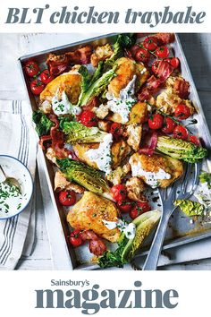 In our BLT chicken traybake recipe, we've taken those classic flavours and transformed them into a quick and easy midweek meal. One tin and dinner on the table in just 30 minutes. Tray Bake Recipes, Cooking Recipes, Healthy Recipes, Top Recipes, Baked Chicken, Chicken Recipes, Chicken Blt, Sainsburys Recipes, Eat Healthy