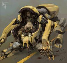 Drawings of the artist stone JH, Mech, cyberpunk Character Concept, Character Art, Arte Robot, Robot Concept Art, Futuristic Art, Ex Machina, Robot Design, Cyberpunk Art, Science Fiction Art