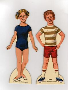 BUFFY and JODY, paper dolls published by Whitman in 1970. The dolls are child stars from the popular TV series Family Affair. Uncut in perfect condition boxed set. { 1 }