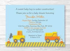 Construction Truck Baby Shower Invitation by LittlePrintsParties, $13.00