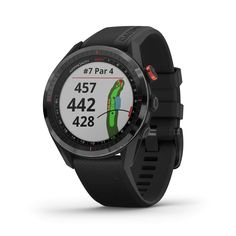 """Garmin Approach S62, Premium Golf GPS Watch, Built-in Virtual Caddie, Mapping and Full Color Screen, Black (010-02200-00) Brand: Garmin Color: Black Features: Large 1. 3"""" easy-to-read color touchscreen display (18% larger than Approach S60) with scratch-resistant ceramic bezel and interchangeable QuickFit bands More than 41, 000 full-color CourseView maps preloaded from around the world Virtual Caddie suggests club based on typical distance the golfer hits that club, factors in wind speed and di Plus Grand Que, Wind Speed And Direction, Golf Gps Watch, Waterproof Fitness Tracker, Heart Rate Monitor, Golf Fashion, Golf Outfit, Cool Watches, Gps Watches"""