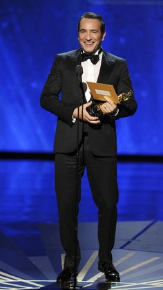 """3/22/14  8:10a  The Academy Awards Ceremony 2012: Jean Dujardin  Best Actor Oscar for """"The Artist"""" 2011. What's in the Envelope,  Jean?"""