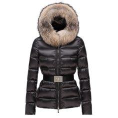 Women Moncler Black Tatie Fur Trim Belted Padded Jacket
