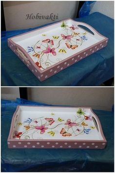 Decoupage For Beginners Decoupage Vintage, Decoupage Wood, Diy Vintage, Decoupage Furniture, Painted Trays, Hand Painted, Wood Crafts, Diy And Crafts, Wooden Painting