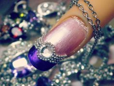 3D PURPLE PINK ACRYLIC JWEL BEADS RHINESTONES DESIGN NAIL ART | Step by ...