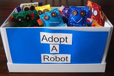 Adorable hand-made felt robot party favors for robot birthday party