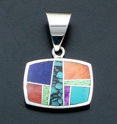 Supersmith Inc. - David Rosales Designs - Indian Summer Inlay & Sterling #Silver Horizontal Rectangle #Pendant #39998 Style P125 $230.00 at Castle Gap Jewelry #jewelry