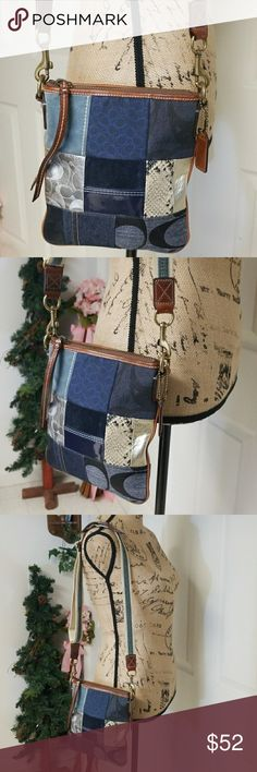 Coach patchwork Crossbody In excellent condition inside and out    Comes with coach keychain   One large compartment and one small compartment in the back  Brass hardware Coach Bags Crossbody Bags