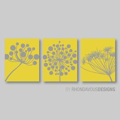 Abstract Modern Dandelions Print Trio - Yellow and Gray Dandelion. Home Decor. Living - You Pick the Size by on Etsy Striped Accent Walls, Art Pariétal, Small Bathroom Colors, Bathroom Art, Bathroom Ideas, Woodland Nursery Decor, Modern Wall Decor, Nursery Prints, Decoration