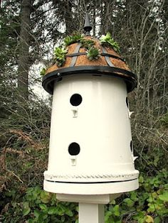 Bucket  Bird House! Topped with a metal coco basket for succulents! Great instructions at this website!