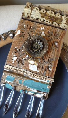 """Assemblage Mixed Media Art Block - """"Bien"""" Poetic Spirit. $79.95, via Etsy.    ...BTW,Check this out:  http://artcaffeine.imobileappsys.com"""