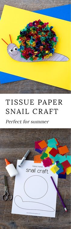 Kids of all ages will enjoy this colorful Tissue Paper Snail Craft. It's an easy craft for kids who are working on developing fine-motor skills or who love animals. Easy Crafts For Kids, Cute Crafts, Toddler Crafts, Projects For Kids, Art For Kids, Art Projects, Animal Crafts For Kids, Summer Crafts Kids, Paper Craft For Kids