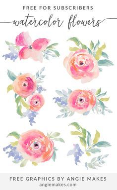 Free Watercolor Flowers by Angie Makes