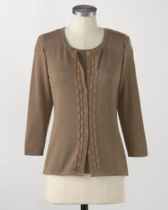Silk/cotton chiffon cardigan  Was 69.95 on sale $23.99    A silky knit cardigan to pamper you through the day. And after five? Why not! The fine-gauge knit is color-matched in ribboned chiffon for a fine effect. Scoop neck, 3/4 sleeves. Silk/cotton, hand wash. Imported. [K12370]    • Chiffoned cardigan  • Silken softness  • 3/4 sleeves  • Mid-hip length