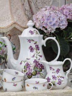 Purple violet tea set