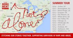 DRUM ROLLLL, please! We're thrilled to announce the stops on our 12-city summer tour with The Monument Quilt!  https://themonumentquilt.org/public-monument-to-rape-survivors-tours-the-united-states/  Join us and our incredible partner organizations in witnessing these historic displays across the nation and building a new culture where survivors are publicly supported rather than publicly shamed.