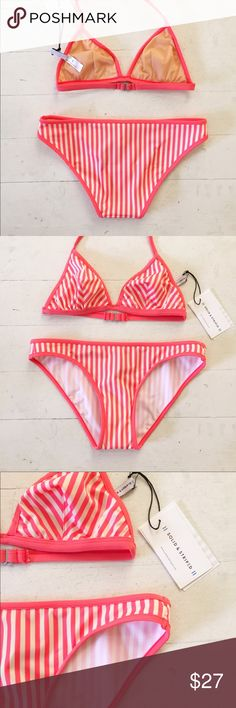Solid & Striped Coral Cream Bikini Bottom Only (S) Solid & Striped Coral and Cream Bikini Bottom Only (S)  The Miranda is a classic go to bikini - it fits perfectly on every body type. Bottom Only Size Small, bottom features contrast piping for a modern, feminine look. Small bottom only, no top. Run's small, closer to a 4 vs a 6.  Fabric woven in Italy Fabric: 80% polyamide, 20% elastane Lining: 90% polyamide, 10% elastane solid & striped Swim Bikinis