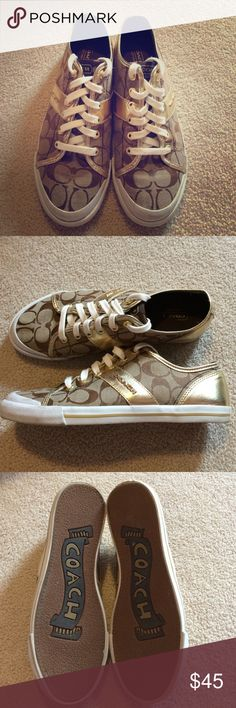 Coach Sneakers Super cute coach sneakers that I love but just don't wear them. Only worn a few time and are in great condition! These shoes can be worn as a casual look or just an everyday sneaker. Coach Shoes Sneakers