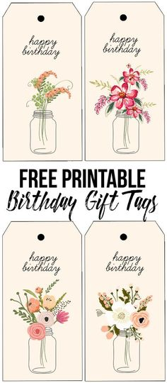 Darling (and free) printable birthday tags with beautiful florals. http://livelaughrowe.com