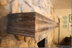 Wood mantel on stone wall - 25 Best DIY Fireplace Makeovers Rustic Mantle, Wood Mantle, Diy Rustic Decor, Fireplace Wall, Fireplace Mantels, Fireplace Makeovers, Fireplaces, Mantles, Rustic Wood