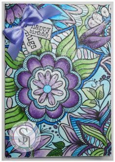 Card made using Spectrum Noir Colorista –  Colorista Card Blank, Colorista Stamp Background 1, Spectrum Noir Holiday Sparkle Pen Set: Fig, Holly Leaf, Starry Sky. Designed by Jayne Rhodes #crafterscompanion #spectrumnoir #colorista