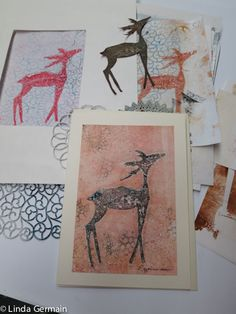 printmaking without a press with Linda Germain: Gelatin Printing Cards - reindeer and doilies