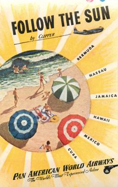 Follow The Sun by Clipper Pan American Airways Colorful Airline Luggage Label