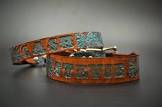 Personalized leather dog collar with your dogs name tooled onto the leather like a Western belt by The Diamond Dogs Diy Leather Dog Collar, Beaded Dog Collar, Diy Dog Collar, Custom Dog Collars, Puppy Collars, Dog Collars & Leashes, Collar And Leash, Diamond Dogs, Western Belts
