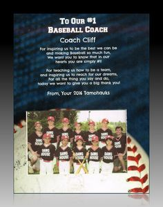 To Our (or My) # 1 Baseball Coach  Personalized Gift   Purchase any Three 8x10s and get one FREE!  A Wonderful Gift for That  Special Baseball