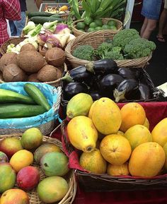 Waimea Farmers Market on the Big Island of Hawaii // The Spicy RD  If you're ever in Hawaii, this is a must do!    Tropical fruits & veggies of course, plus tropical jams, local goat cheese, fresh coconut water & coconut candies, Kona coffee, and more!