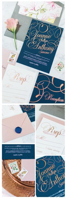 Chelsea B Design Studio | Gold Foil wedding invitations | Navy and blush wedding invitation | wax seals | flourish wedding invitation | blush navy and gold wedding | floral and charoal | rose gold foil | samantha jay photography | new jersey wedding invitation designer