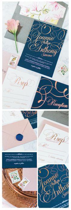 Chelsea B Design Studio | Gold Foil wedding invitations | Navy and blush wedding invitation | wax seals | flourish wedding invitation | blush navy and gold wedding | floral and charoal | rose gold foil | samantha jay photography | new jersey wedding invitation designer