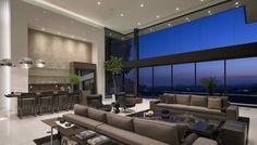 Modernes Wohnzimmer in Loft Stil mit Bar