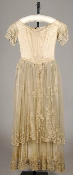 White silk evening dress with whitework embroidery, American, ca. 1845.