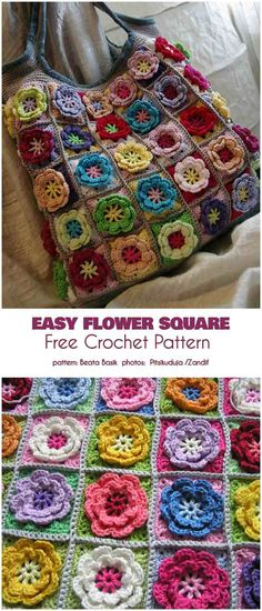 Easy Flower Square Free Crochet Pattern The Flower Square afghan has flower centers in the squares that give it a rich surface, that is a joy to both sight and touch. Crochet Flower Squares, Crochet Daisy, Form Crochet, Granny Square Crochet Pattern, Crochet Blocks, Crochet Flower Patterns, Afghan Crochet Patterns, Crochet Motif, Hat Crochet