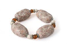 Seashell Bead Streatch Bracelet for women, handmade polymer clay jewelry gifts by Lottieoflondon #lottieoflondon