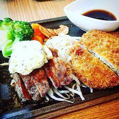 軽井沢2日目✨ #軽井沢 #アウトレット #御曹司きよやす庵 #lunch #ランチ #ステーキ #メンチカツ #サーロイン #メンチをステーキのたれで食べるの大好き #steak #beef #yummy #おいしい #food #instafood #instadaily #family #家族 #holiday #happy #hapiness #軽井沢アウトレット #お出かけ #肉