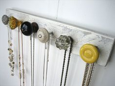 Necklace Holder with Gray and Yellow Knobs by AuntDedesBasement, $35.00