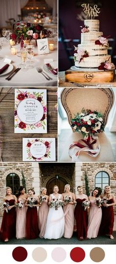 gorgeous burgundy and blush wedding colors