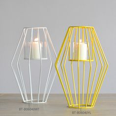 ==> [Free Shipping] Buy Best Creative Modern Stylish Prismatic Metal Candle Holders for Wedding Favors and Gifts or Home Decor on Sale 2017 White or Yellow Online with LOWEST Price 32473536398