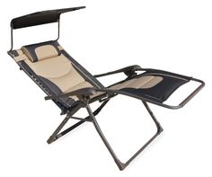 Black and Tan Padded Zero Gravity Chair with Canopy from Big Lots. ~ My husband and I LOVE these chairs! Super comfortable and the shade canopies are an added plus! Must have for RVing.