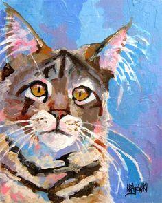 Maine Coon Cat Art Print of Original Acrylic by dogartstudio