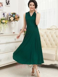 Ericdress Solid Color V-Neck Sleeveless Maxi Dress Robe maxi