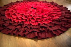Red Ombre ruffle Christmas tree skirt burlap by thelittlegreenbean