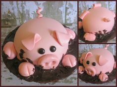 pig in mud cake...too cute!! Another one for my friend Michelle K.  ----thank you  Dawn!!!!  He's adorable!!  i'm going to have to find me a baker! idea, little pigs, mud, smash cakes, piggi cake, birthdays, pig cake, themed parties, birthday cakes