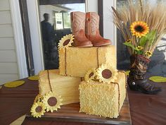 Hay Bale Cake with out the boots. I like the sunflowers. Need to add pumpkins and much smaller. Cowgirl Cakes, Western Cakes, Hay Bale Wedding, Unique Cakes, Creative Cakes, Sunflower Cakes, Cake Decorating Tips, Fondant Cakes, Cupcake Cakes