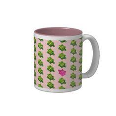 Green and Pink Turtle Pattern Coffee Mugs